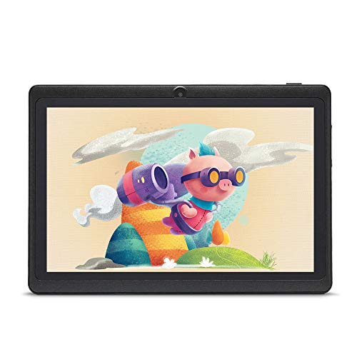 Haehne 7 Pollici Tablet PC, Android 9.0 Google GMS HD Tablet, Quad Core 1GB RAM 16GB ROM, Doppia Fotocamera, WiFi, Bluetooth, Nero