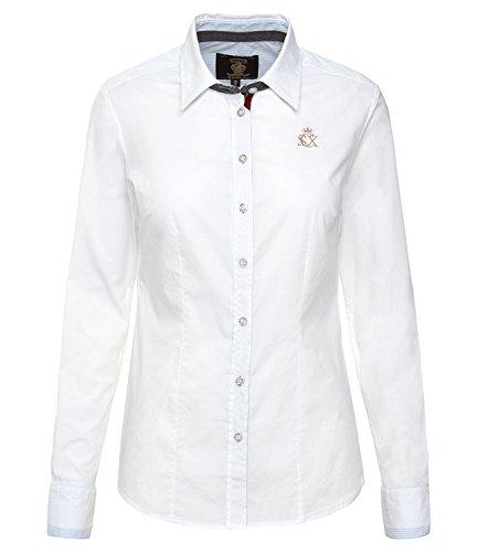SOCCX Damen Taillierte Stretch-Bluse mit Logostick