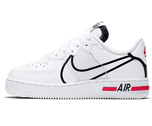 Nike Air Force 1 React (GS), Zapatillas de básquetbol para Niños, White Black Univ Red, 37.5 EU