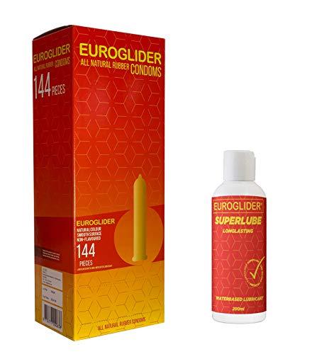 Euroglider Kondome für Männer (144 st.) + kostenlos Superlube Gleitmittel (200ml)