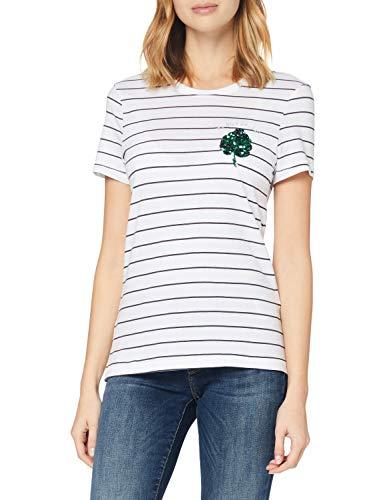 ONLY Damen ONLKITA Life REG S/S Leaf TOP Box JRS Bluse, Bright White, XS