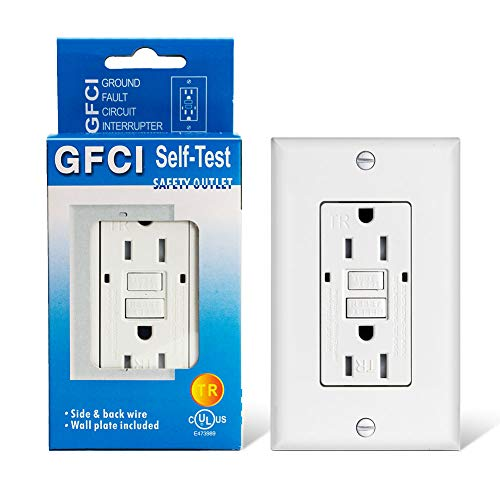15amp GFCI Outlet Receptacle-Electrical White Self Testing Tamper Resistant Duplex Ground Fault Circuit Interrupter Outlet Included LED Light, Wall Plate and Screws, UL Listed