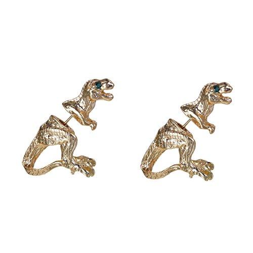 SiAura Material ® - 1 Paar Metall Ohrstecker 3D Dinosaurier, 22 x 28 mm, Goldfarben