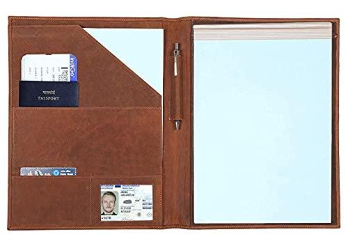 Leather Padfolio Resume Portfolio Folder – Interview/Legal Document Organizer for Letter Size...