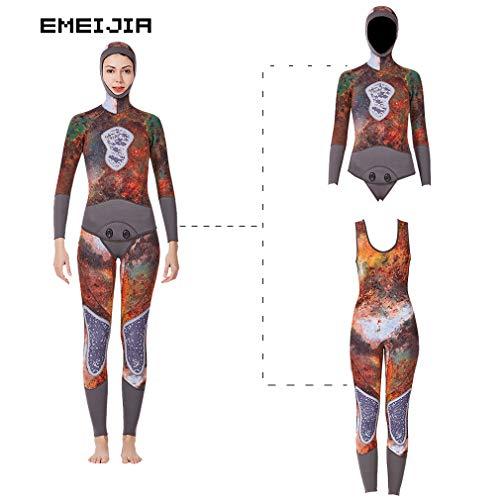 EMEIJIA vrouwen 3Mm wetsuit capuchon camouflage tweedelige set capuchon lange mouw tops+Siamese Vest