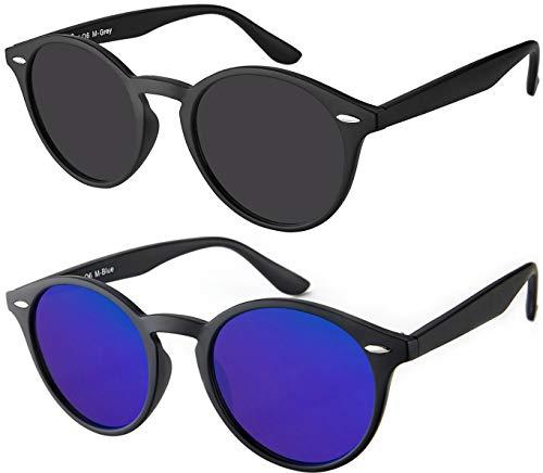 Sonnenbrille Herren Damen La Optica UV400 CAT 3 Retro Vintage Hippie Rund Round - Set Matt Schwarz (1 x Grau, 1 x Blau Verspiegelt)