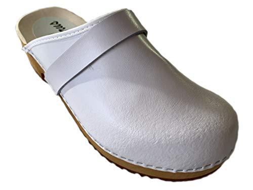 GreenPyrus 064 Zuecos Zapatillas Zapatos de Cuero para Mujer, Blanco, EU 41