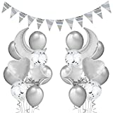 Kreatwow 22 Pack de Globos de Plata Decoraciones para Fiestas Set para cumpleaños Baby Shower Graduaciones Compromiso de Bodas Globos de Lentejuelas de Plata Globos de Luna para Adultos
