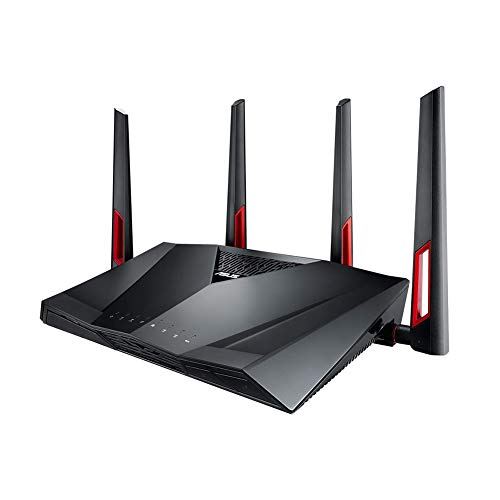 ASUS Dual-Band Gigabit WiFi Gaming Router (AC3100) with MU-MIMO, supporting AiProtection network security by...
