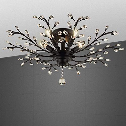 YANQING Duurzame Plafondlampen LED Crystal Plafondlamp, Mode Plafondlamp voor Slaapkamer Eetkamer, Creatieve E14 Plafondverlichting Kroonluchter Plafondlampen (Kleur : Zwart), Kleur: Goud