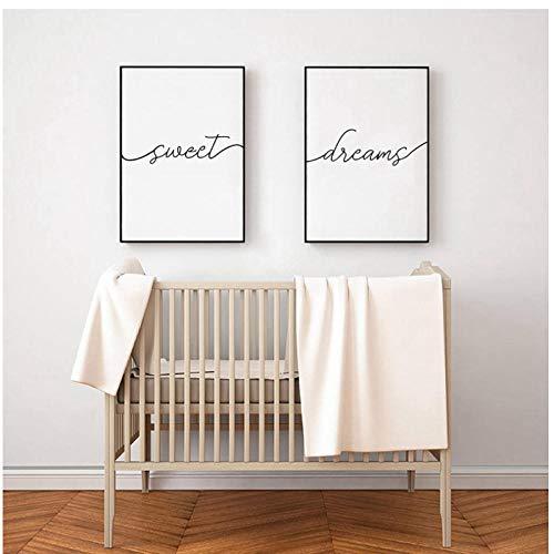 xwwnzdq 2 Stück Sweet Dreams Print Typografie Poster Moderne schwarz-weiß minimalistische Drucke Leinwand Malerei Schlafzimmer Dekor 40x60cmx2 ohne Rahmen