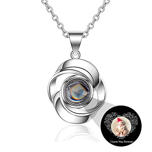 Collar Personalizado De Proyección De Fotos Te Amo Collar De 100 Idiomas Collar Para El Día De La Madre Para Las Mujeres(Plata a todo color 14)