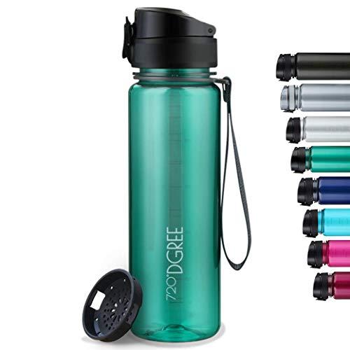 """720°DGREE Trinkflasche """"uberBottle"""" crystalClear +Sieb - 650 ml - BPA-Frei - Auslaufsichere Wasserflasche für Kinder, Schule, Uni, Sport, Gym, Fitness - Sportflasche aus Tritan - Leicht, Bruchsicher"""