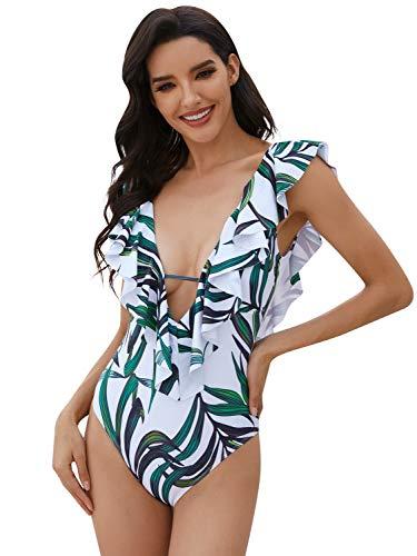Heekpek - Bañador para mujer, 1 pieza, sexy, bikini push up, estilo vintage, una pieza chic, bikini de primera calidad, cuello en V, cintura alta, espalda descubierta, volantes para tomar el sol d L