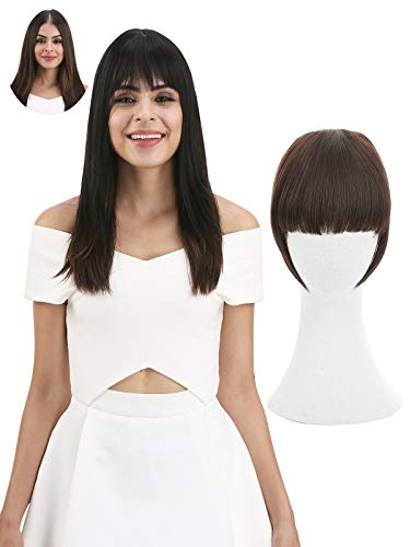 REECHO Fashion Full Length Synthetic 1 Piece Layered Clip in Hair Bangs Fringe Hairpieces Hair Extensions Color - Black Brown