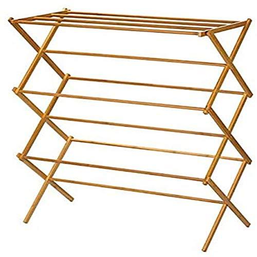 Secador de piso sola plegable de bambú de bambú balcón de madera sólida cubierta telescópica hogar de la toalla tendedero estante estante de secado de madera de bambú del Medio Ambiente,Log color