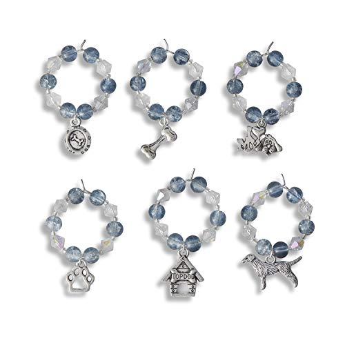 Premium Dog Lovers Wine Glass Charms Set of 6 - Gifts for Dog Lovers and Dog Owners Christmas Dog Gifts for Animal Lovers Best Dog Mum Women Gifts for Friends Presents for Mum Xmas Gift Ideas