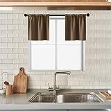 MRTREES Fächervorhänge, verdunkelnd, für Küche, Badezimmer, kurzer Vorhang, dreifach gewebt, kleine Café-Gardinen, Halbfensterbehandlungs-Set, 2 Paneele mit Stangen-Tasche Modern 34
