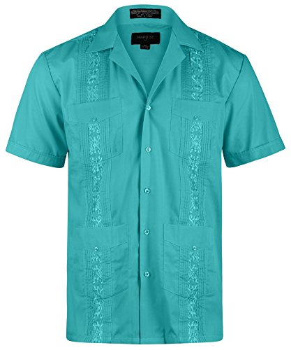 Ward St Men's Short Sleeve Cuban Guayabera, 3XL, 19-19.5N, Turquoise