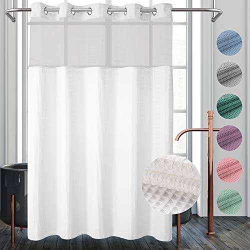 River dream Waffle Weave Fabric Shower Curtain No Hooks Needed, Cotton Blend, with Snap-in Repalcement Liner - Hotel Grade, Water Repellent, Machine...
