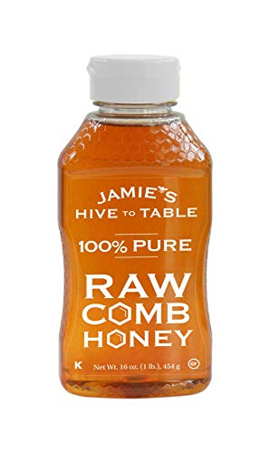 Jamies Hive To Table, 100% Unfiltered Local Raw Honey & Comb, Pure Honey (16 ounce) - Gluten Free