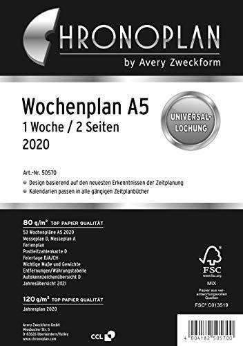 Chronoplan 50570 Kalendereinlage 2020 (Wochenplan A5 in Zeilen (148 x 210 mm), Ersatzkalendarium, ideal für detaillierte Wochenplanung, Universallochung (1 Woche auf 2 Seiten)) weiß