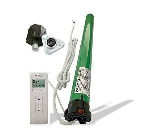 PALMAT Motor Tubular de Persiana con Control de Radio Integrado Que Incluye un Mando a Distancia de 8 Canales (SW60 / 25 Capacidad de elevación + Adaptador)