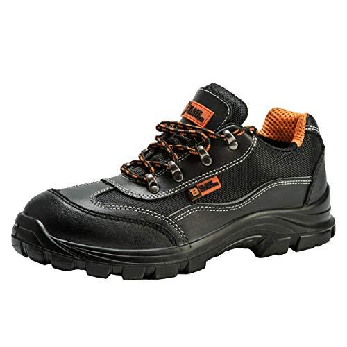 Zapatillas Deportivas de Seguridad para Hombres Puntera S1P SRC Calzado de Trabajo Botines para senderistas Protección Entresuela 8821 Black Hammer