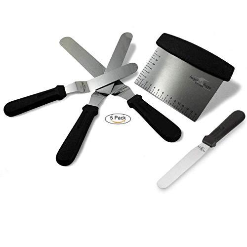 Spatola per pasticceria -5 pezzi -3 spatole acciaio inox ad angolo lama flessibile -1 taglia pasta graduato -1 spatola per glassare torta o per guarnire le vostre frittelle