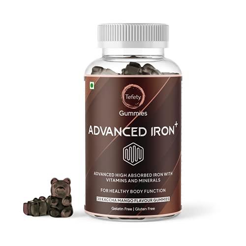 Tefety Advanced Iron Gummies  Immune Support Supplement with Calcium, Vitamin B6 & B12 for Men Women and Kids   Iron Supplement for Growth & Hemoglobin- Kaccha Mango 30 Flavor Gummy Bears