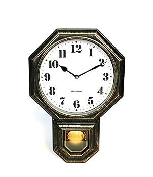"Signature Dark Iron Antique Mini Pendulum Wall Clock Simulate Metallic Vintage Texture Non Ticking Silent Sweep Movement 11.4"" x 17"" x 2.4"" Retro Classic Style Plastic Frame with ABS Glass"