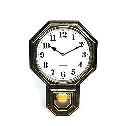 "Signature Dark Iron Antique Mini Pendulum Wall Clock, Simulate Metallic Vintage Texture, Non Ticking Silent Sweep Movement, 11.4"" x 17"" x 2.4"", Retro Classic Style, Plastic Frame with ABS Glass"