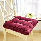 Nathime Soft Patio Outdoor Corduroy Chair Pad with Ties Home Decor Indoor Dining Chairs Cushion 16.9'×16.9'×3.8' Wine Red 1Pc