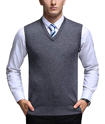 Mens Solid Pullover V Neck Sleeveless Sweaters