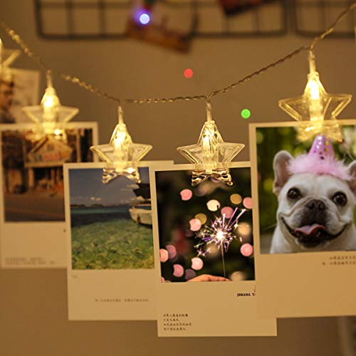 Star Photo Clip String Lights 3M 20LED Waterproof Fairy Lights Battery Powered with 20 Clips Wall Decor for Bedroom Birthday Wedding Party Christmas Decorations Warm White