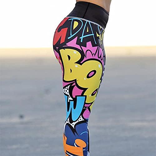 Aeróbico Pilates Fitness Pantalones,Pantalones de Yoga personales de Cintura Alta, Leggings con Estampado Digital-Negro_M,Alta Pilates Fitness Mujer Gym Yoga Pantalon