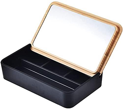 Joyero simple caja de joyería Flip con espejo caja de almacenamiento de joyería pendientes anillo collar pendientes reloj acabado estante joyería caja de almacenamiento
