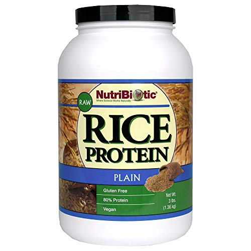 NutriBiotic Rice Protein Plain| 3 pound| Low Carbohydrate Vegan Protein Powder| Non-GMO| Vegan| Gluten Free| Grown and processed without chemicals | Keto Friendly