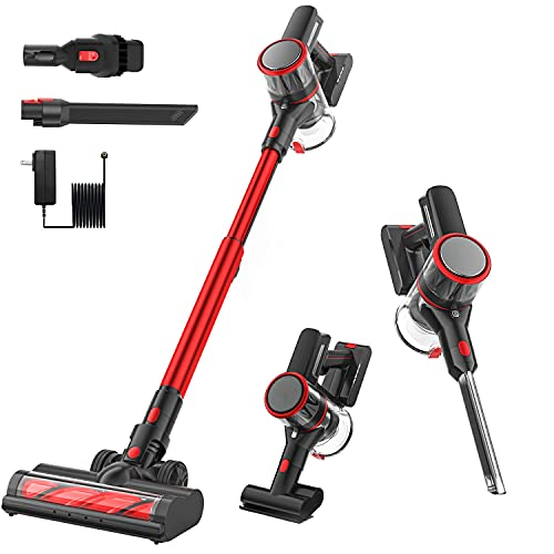 Cordless Vacuum Cleaner, 6 in 1 Stick Vacuum with 24Kpa Strong Suction, 40 Minutes Running Time, Household Vacuum Cleaners with Multi-Attachments, Detachable Battery for Carpet Hard Floor Pet Hair