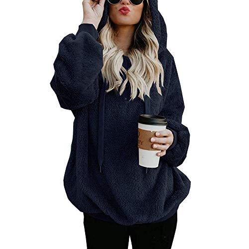 OSYARD Damen Reißverschluss Kapuzenpulli Mantel Winter Warme Wolltaschen Mantel Outwear, Frauen mit Kapuze Fuzzy Sherpa Sweatshirt Fleece Pullover Warmer (4XL, y-Marine)
