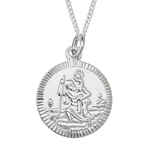 Aeon Real Sterling Silver St Christopher Medal Pendant Necklace For Women and Men. Adjustable Chain From 16 inches to 18 inches. Holy St Christopher Christian Travel Protector Medal.