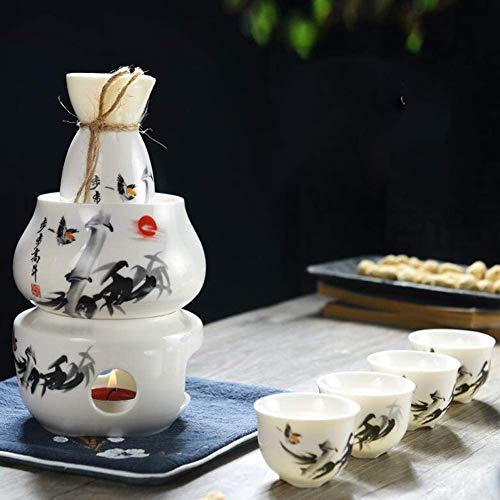 MISTLI Sake Set Und Tassen Mit Warmer, Traditionelle Porzellan Keramik Hot Saki Getränk Set Kit, 7-Teilig Umfassen 1 Herd 1 Schüssel 1 Sake Warming Flasche 4 Cup,A