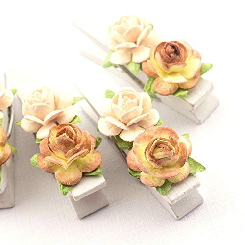 Summer-Ray 50 Handmade Mulberry Flower Decorated Mini White Wooden Clothespin Wedding Favors Decoration (Cream-Brown)