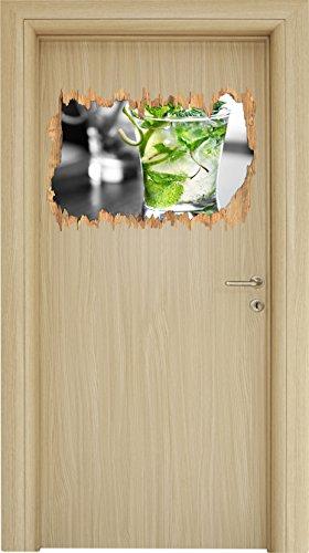Stil.Zeit Pfefferminzcocktail schwarz/weiß Holzdurchbruch im 3D-Look, Wand- oder Türaufkleber Format: 62x42cm, Wandsticker, Wandtattoo, Wanddekoration