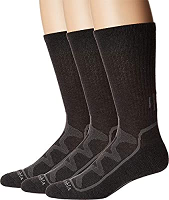 Columbia Poly Rib Crew w/Mesh Vent 3-Pack Charcoal 10-13 (Shoe Size 6-12 US Men's)