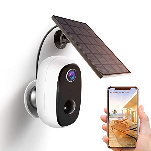 Überwachungskamera Akku mit Solarpanel,1080P Kabellos WLAN Kamera Akku Outdoor mit PIR-Bewegungserkennung,2-Wege-Audio,Nachtsicht,integrierter SD-Steckplatz,IP65 wasserdichte