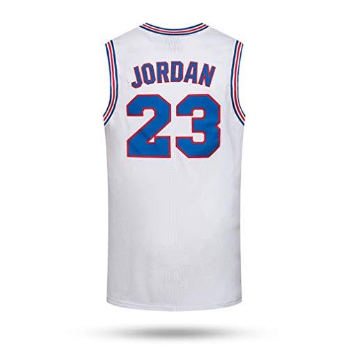 Jinyiming Film Jersey Mens Basketball Jersey, Michael Jordan # 23 von Space Jam, Swingman Jersey Vest, (Color : White, Size : XXL)