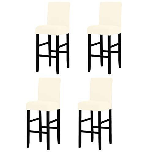 LANSHENG Bar Stuhlhussen, Stretch Abnehmbarer waschbarer Stuhl Schonbezug für Short Swivel Dining Chair Rückenlehne Barhocker Stuhl (Beige,4 Stück)