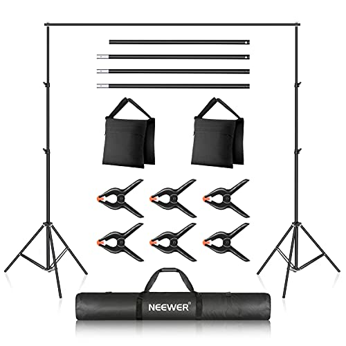 Neewer Photo Studio Backdrop Support System, 10ft/3m Wide 6.6ft/2m High Adjustable Background Stand with 4 Crossbars, 6 Backdrop Clamps, 2 Sandbags, and Carrying Bag for Portrait & Studio Photography
