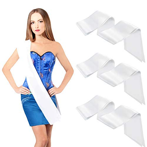 PAMASE 3 Packs Quality White Blank Party Pageant Stain Sash, DIY Plain Silk Sashes Party Accessory for Wedding Hen Party Birthday, Slogan Blessing Funny Creativity